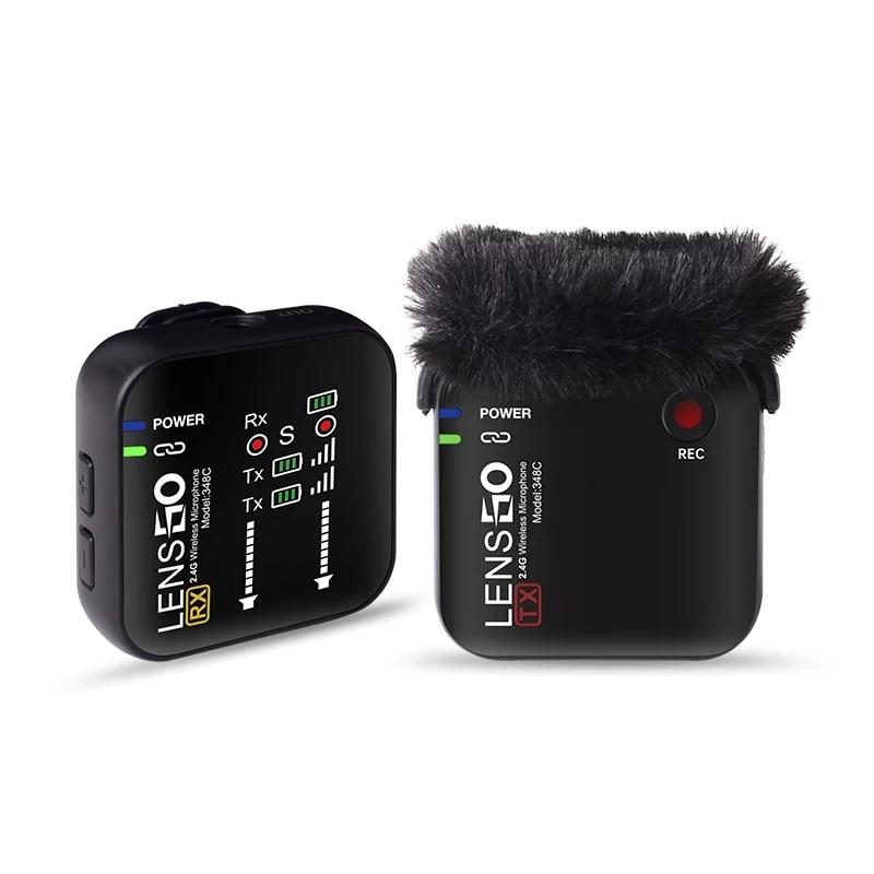 Entrevista para Câmera Gravação de Smartphones com Case de Carregamento Lensgo Mini Lavalier Microfone Wirelessmic 2.4g Dslr 348c