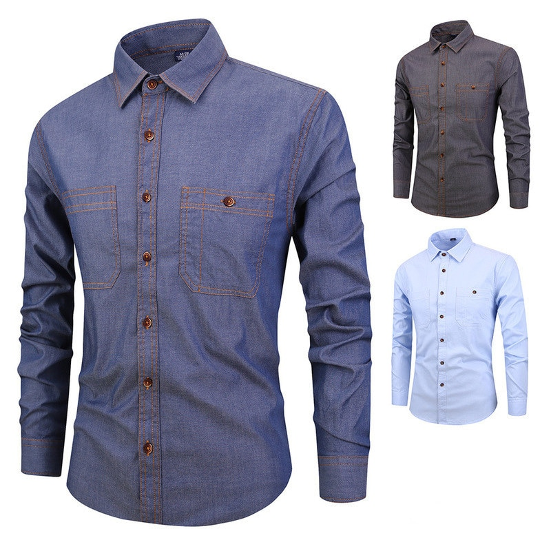 2021 Men's Fashion Denim Shirts Work Casual Long Sleeve Mens Dress Slim Fit Shirts Cotton Blouse Clothing