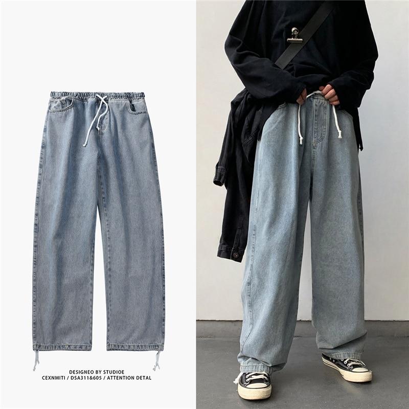 Korean Style Loose Wide Leg Jeans For Men 2021 Blue Baggy Denim Pants Kpop Clothes Fashion Jeansy Ulzzang Cargo Jeans Male