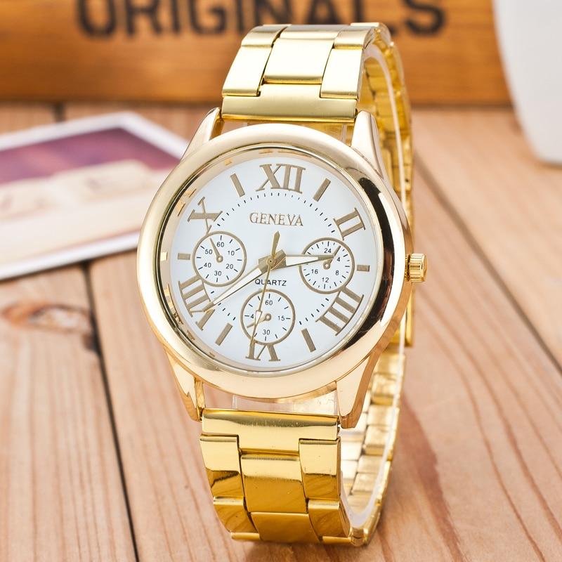 Nueva Marca 3 ojos plata regalos reloj de cuarzo Casual mujeres Acero inoxidable relojes reloj Feminino, gran oferta