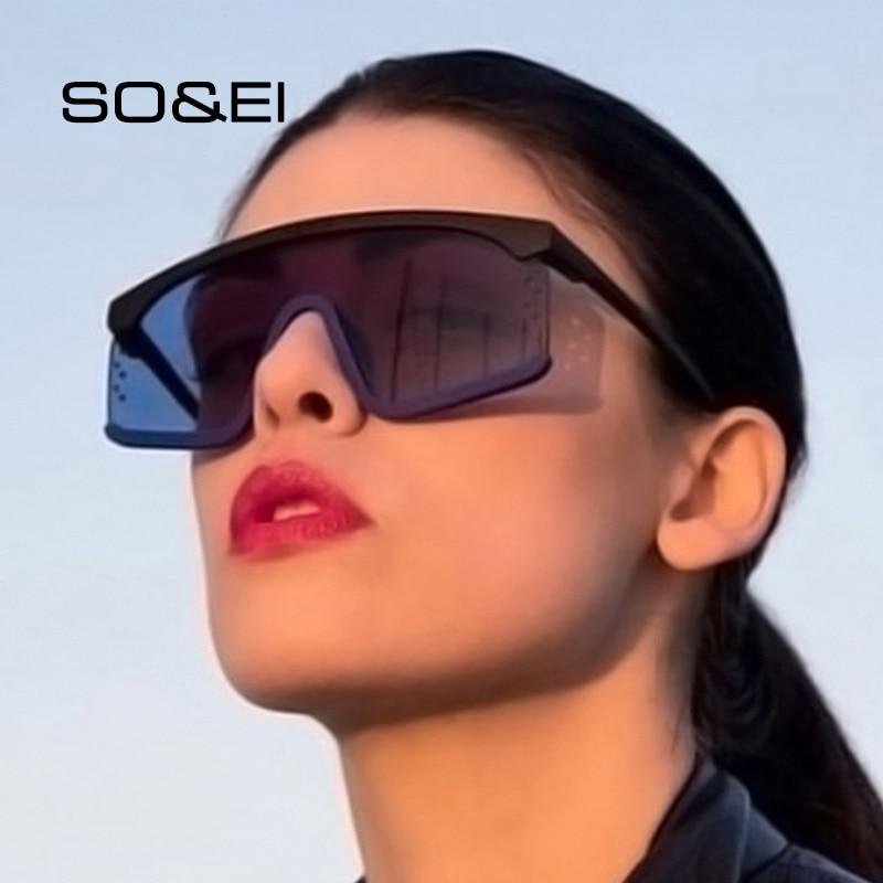 SO&EI Oversized One Piece Sunglasses Women Brand Designer Retro Men Gradient Semi-rimless Sun Glasse