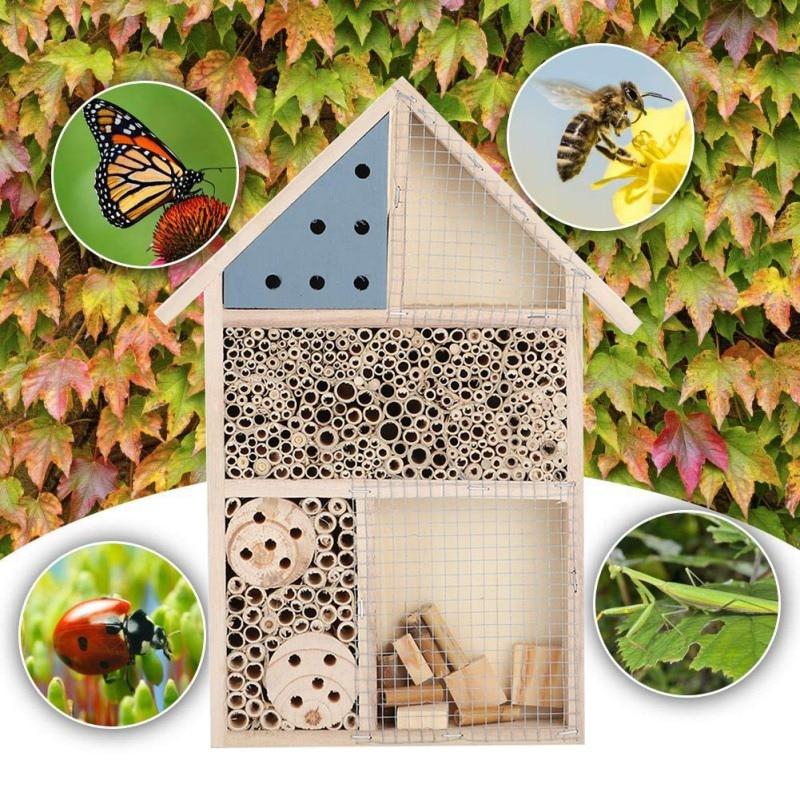 Casa de abejas e insectos de apicultura, habitación de insectos de madera, refugio para Hotel, decoración de jardín, caja de nidos, casa de abejas, casa de apicultura, casa de alimentación, caja de abejas