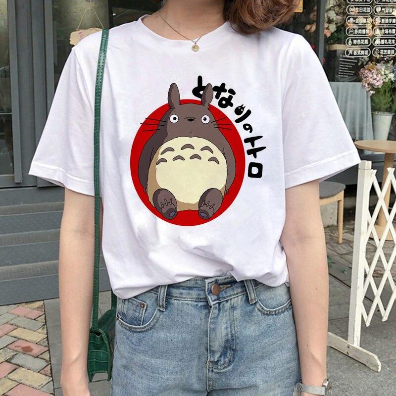 Тоторо дух от Studio Ghibli футболка с принтом для женщин с коротким рукавом летние женские прикольные футболки, Топики, Camisas Mujer принтовые тройник...