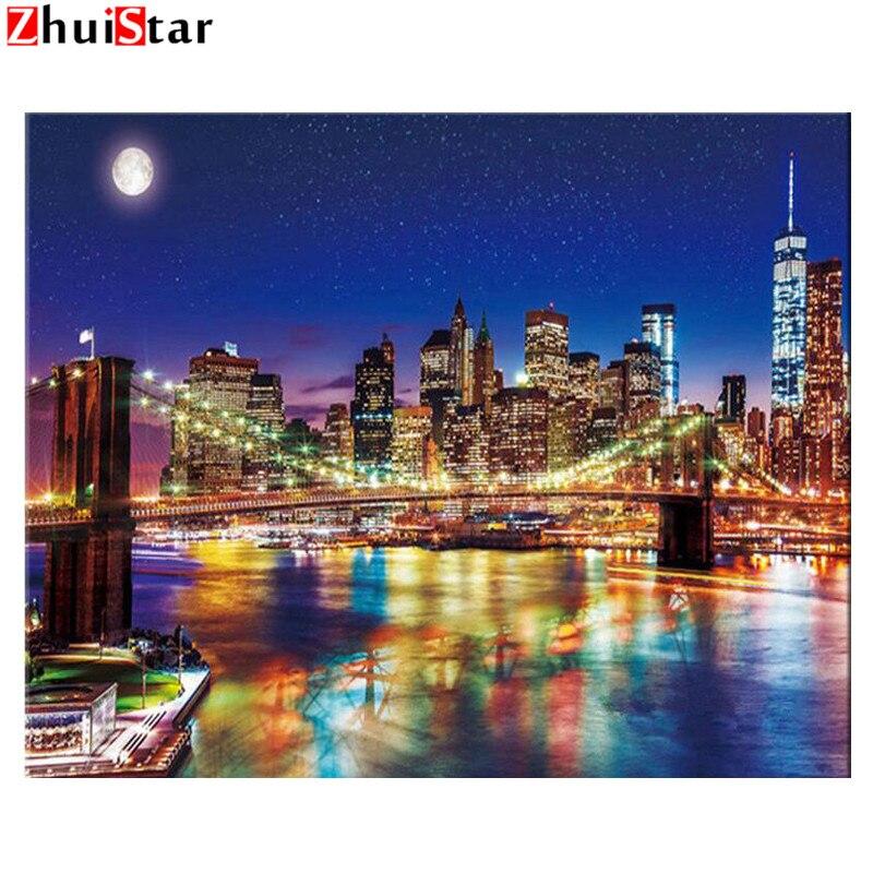 New york 3d diy Diamant malerei Kreuz Stich kit Diamant Stickerei Nacht brücke hause landschaft diamant mosaik bild WHH