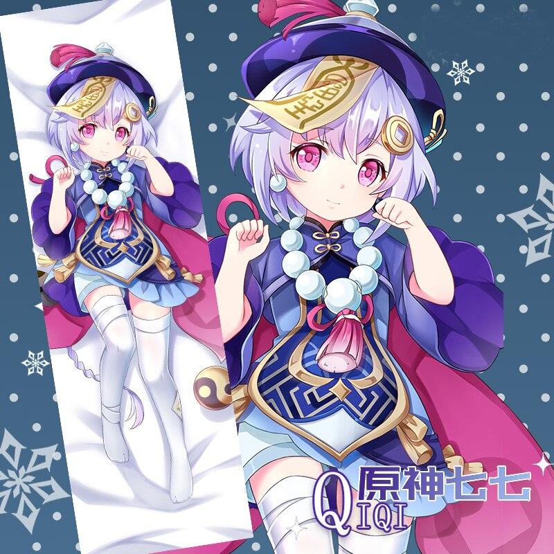 الأصلي Genshin تأثير QiqiI تأثيري Dakimakura وسادة حالة العناق .. انمي ياباني غطاء وسادة هدايا عيد الميلاد