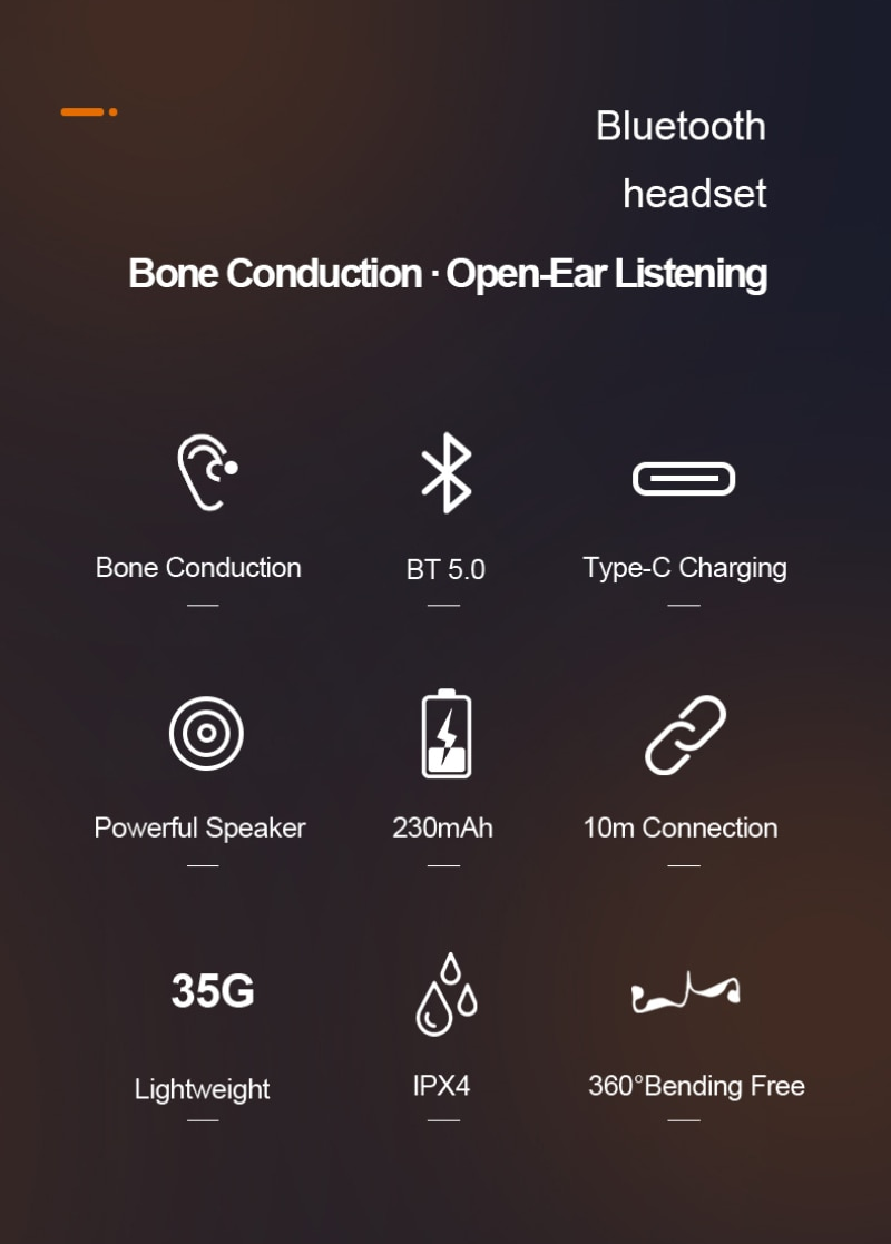 Suitable for Bone Conduction Bluetooth 5.0 Chip Headset IPX4 Waterproof Stereo Hands-free Bluetooth Headset with Microphone enlarge