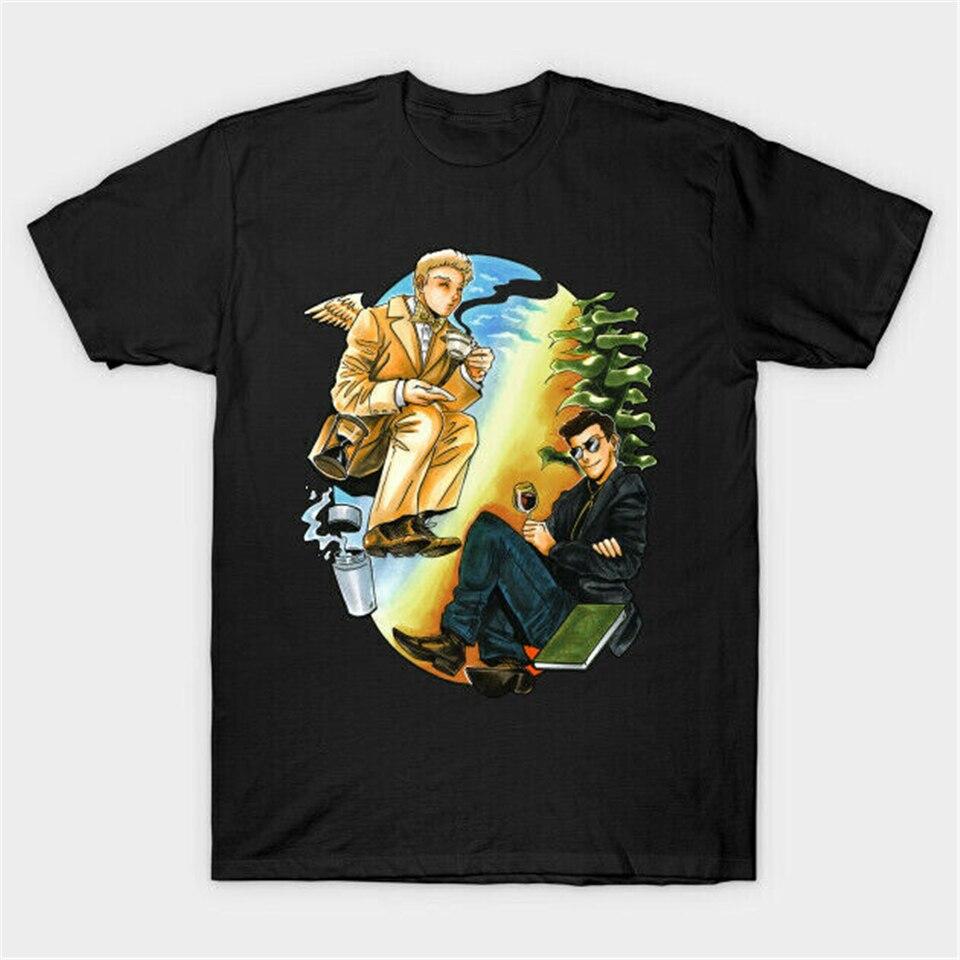 Good Omens serie Ángel Aziraphale demonio Crowley Yin Yang negro camiseta Tops camiseta Digital impreso