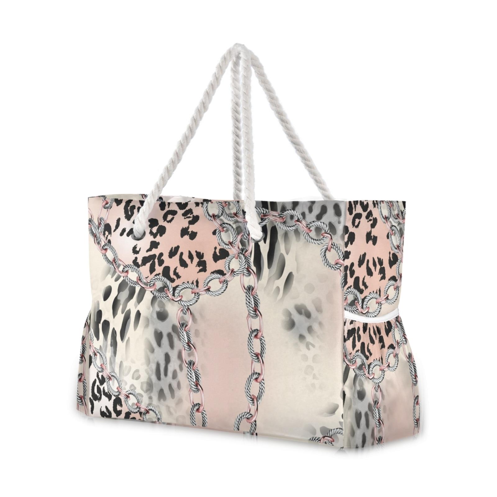 المرأة 2021 جديد ليوبارد طباعة حقيبة شاطئية حقيبة كتف مفردة عصرية خفيفة الوزن كل مباراة حقيبة تسوق حقيبة شاطئية