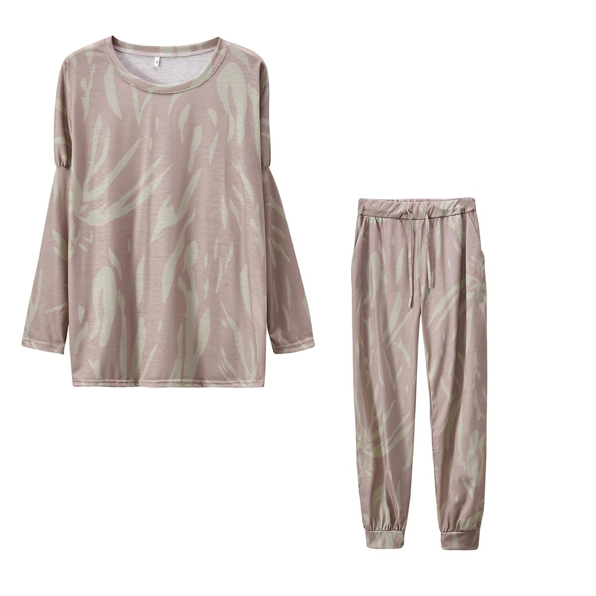 Женские пижамные комплекты с круглым вырезом и цветочным рисунком