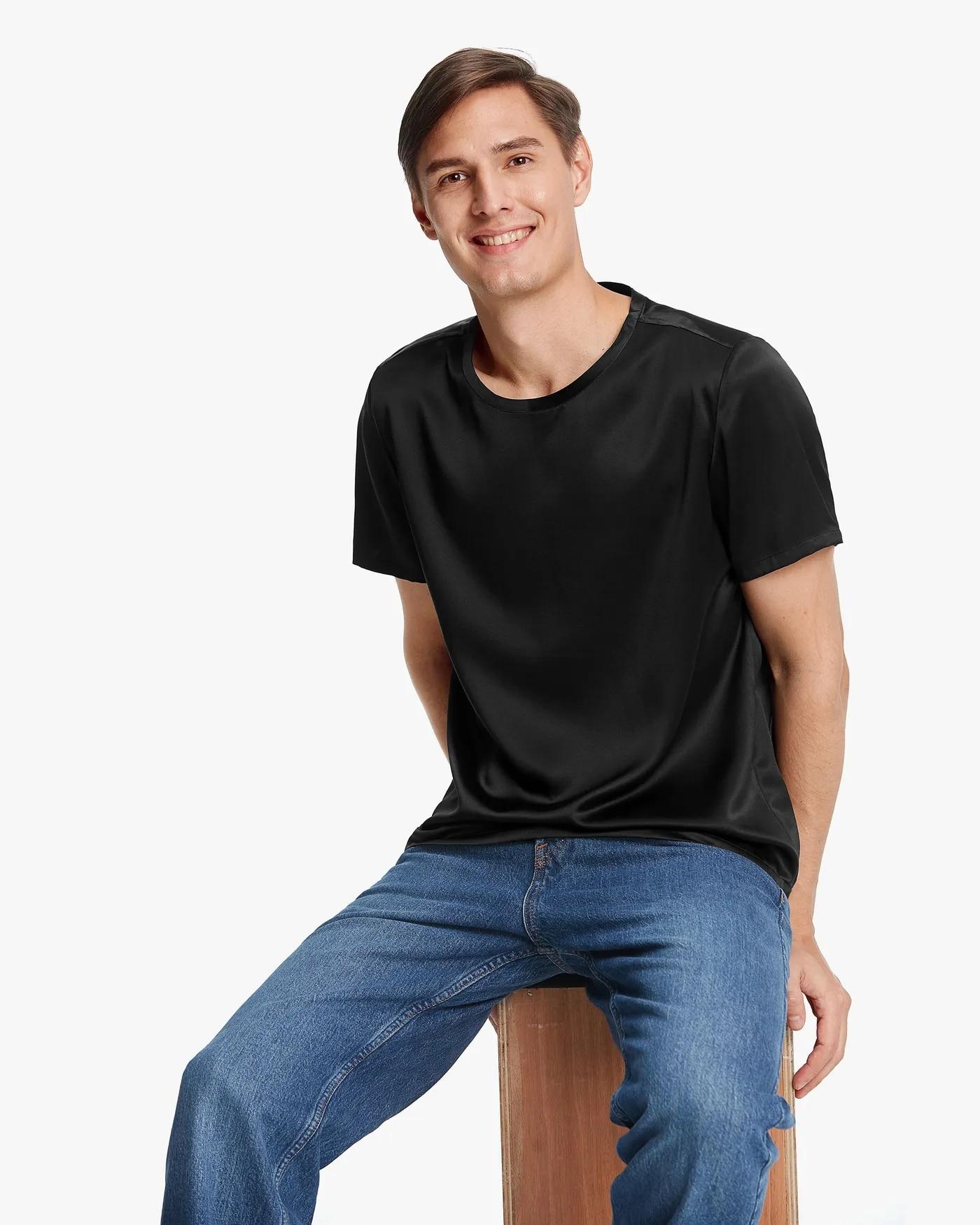 Short-Sleeved Round Neck Silk Mens Tee Fashion O-Neck T Shirt Men Trend Casual Mens T-Shirt