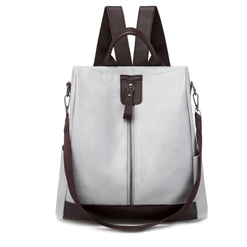 Splicing Women Backpack High Quality Youth Leather Backpacks for Teenage Girls Female School Trend zipper Shoulder Bag 2021 new