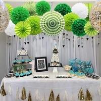 14pcsset green paper lanterns tissue pompoms flower honeycomb ball paper fan rosettes hawaiian party favors diy decorations