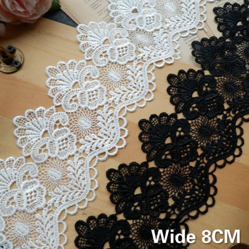 aliexpress.com - 8CM Wide Exquisite White Black Cotton Embroidered Fringe Ribbon 3d Flowers Lace Trim Curtains Dress DIY Home Sewing Supplies