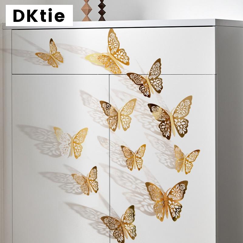 12pcs/set 3D butterfly wall stickers wedding decoration window refrigerator home golden silver
