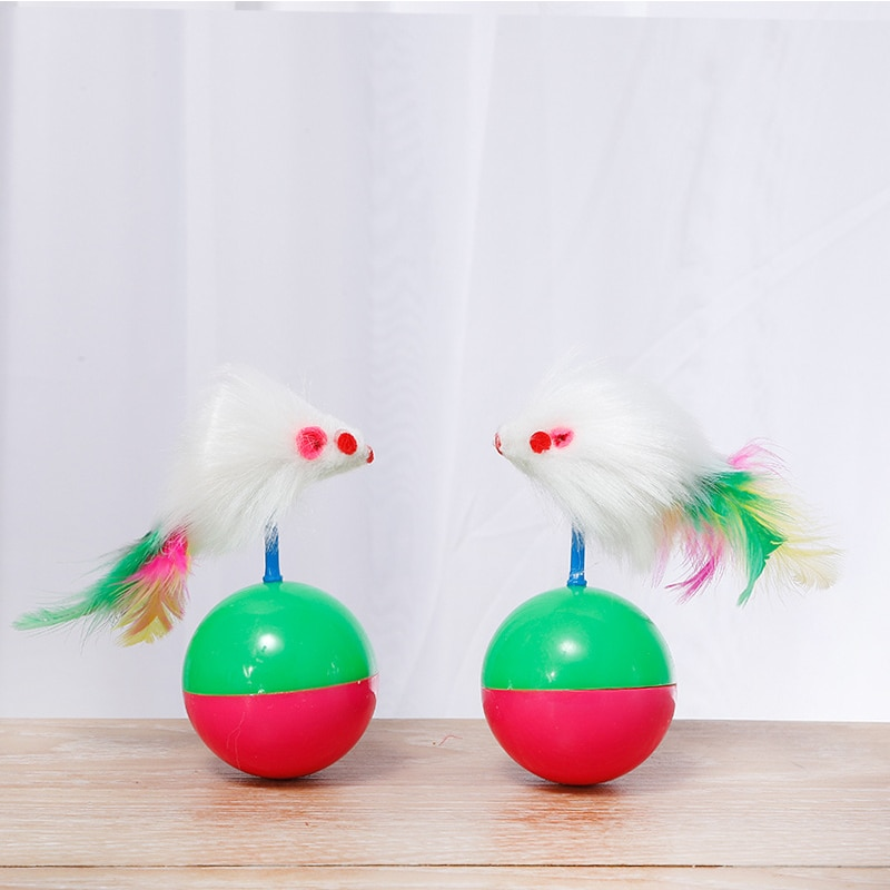 Cat Tumbler Toy Interactive Kitten Dog Favorite Plush Funny Aniti-bite Feather Mouse Bauble Roly-poly Mice Training Pet Supply