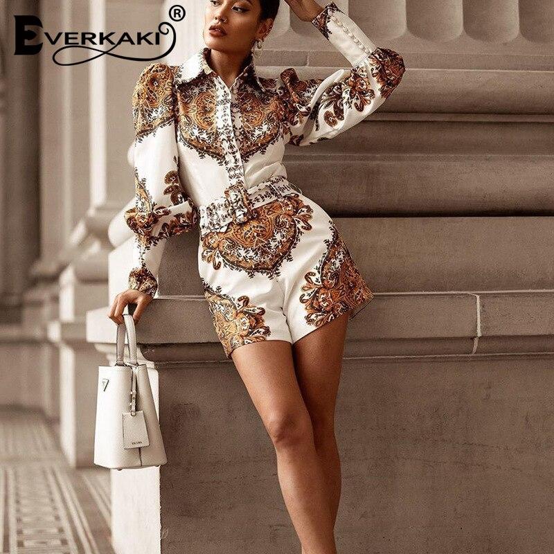 Everkaki Bohemian Print Rompers Playsuits Women with Belt Long Sleeve Ladies Chic Romper Female 2021 New
