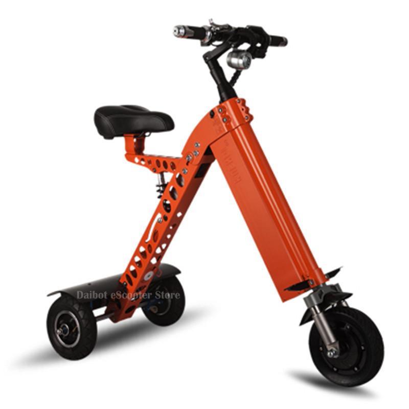 Bicicleta elétrica inteligente três rodas scooters elétricos cinza laranja 350 w 48 v dobrável triciclo scooter elétrico
