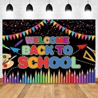 laeacco welcome child back to school day blackboard colorful bunting pencil graduation backdrop photographic photo background