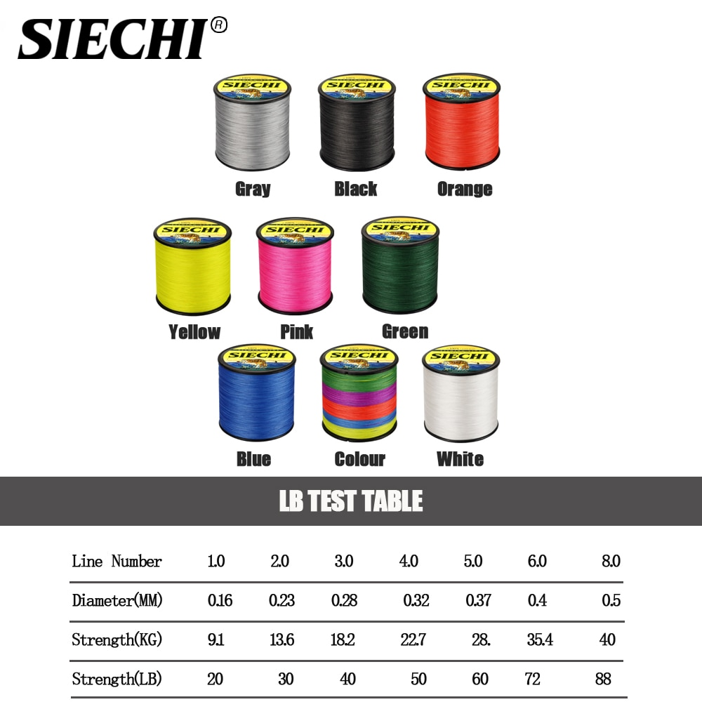 SIECHI 300m&500m&1000m HOT Sale!Free shipping Super Strong Japanese Multifilament PE Braided Fishing Line 20-80LB enlarge