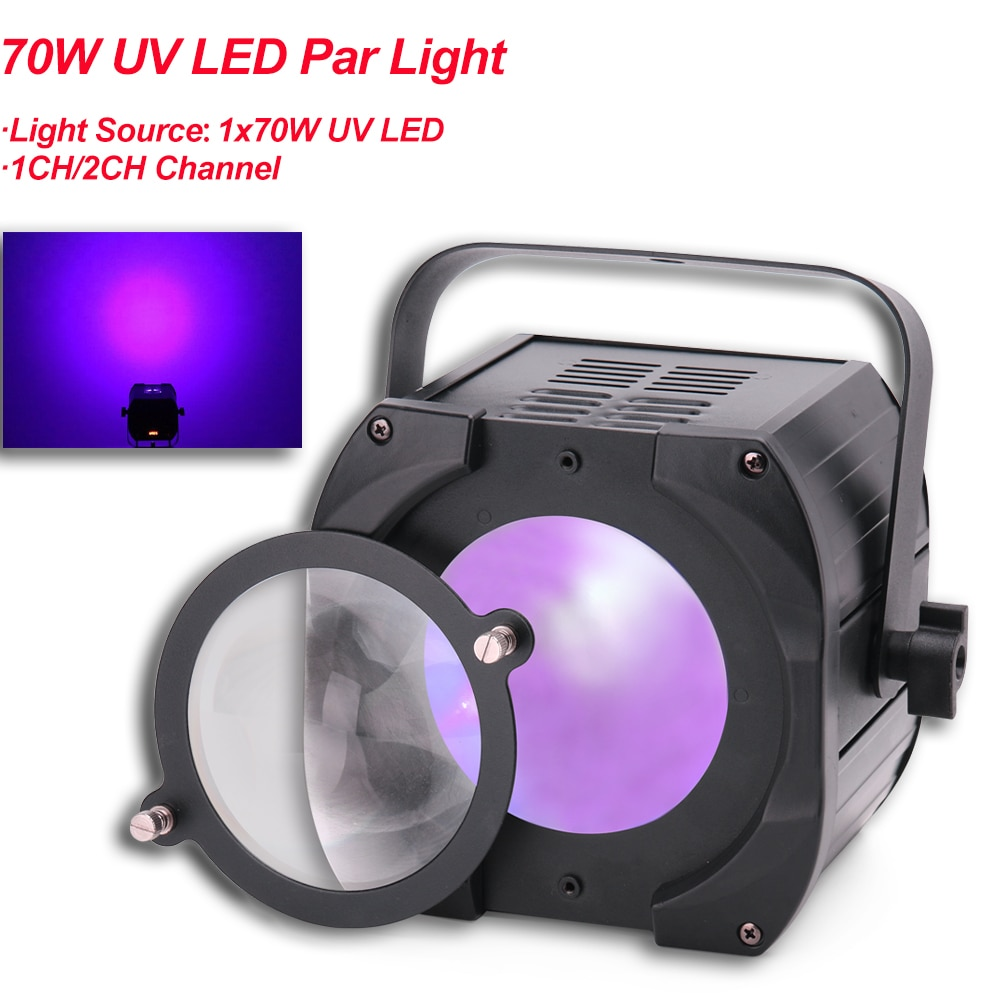 With Two Lenses LED Flat Par 1x70W Violet Color Lighting UV With DMX512 For Disco DJ Projector Machine Party Stage Decoration