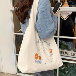 Cute Women Shoulder Bag Canvas Shopper Tote Large Capacity Retro Female Shopping Beach Bag Fashion Handbag For Women Girls