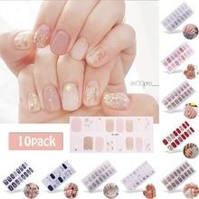 6/10 Stuks Volledige Cover Wraps Nagellak Stickers Strips Vlakte Nail Art Decoraties Hart Ontwerpen Glitter Poeder Manicure tips