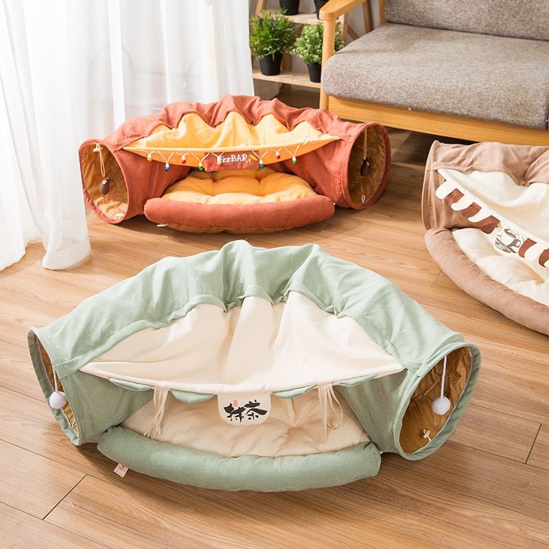 Tubo de túnel desmontable plegable para gatos, juguetes de juego interactivos para mascotas, sonido de timbre de papel para gatos, hurones, cachorros, Juguetes
