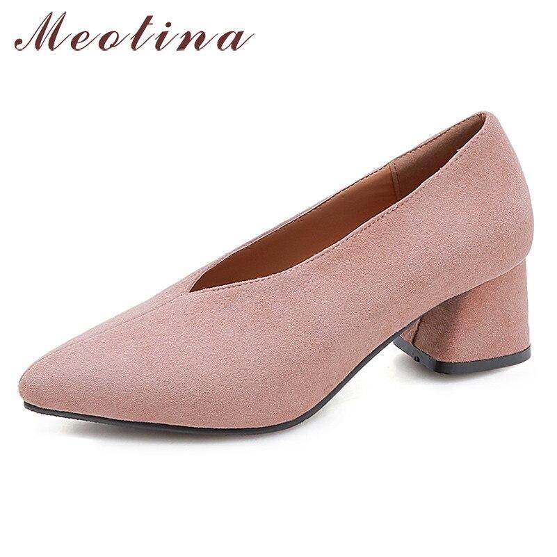 Meotina salto alto, salto alto, feminino, de alta qualidade, luva, sapatos de salto quadrado, fecho, sapatos de trabalho, primavera, tamanho grande 33-46