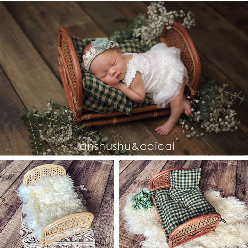 Baby Photography Props For Newborn Hand-Woven Hollow Bamboo Bed Vintage Boy Girl Photo Shoot Furniture Fotografie Accessoires