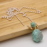 hot selling natural semi precious stone turquoise perfume bottle exquisite pendant free two glasses pearl chain accessories