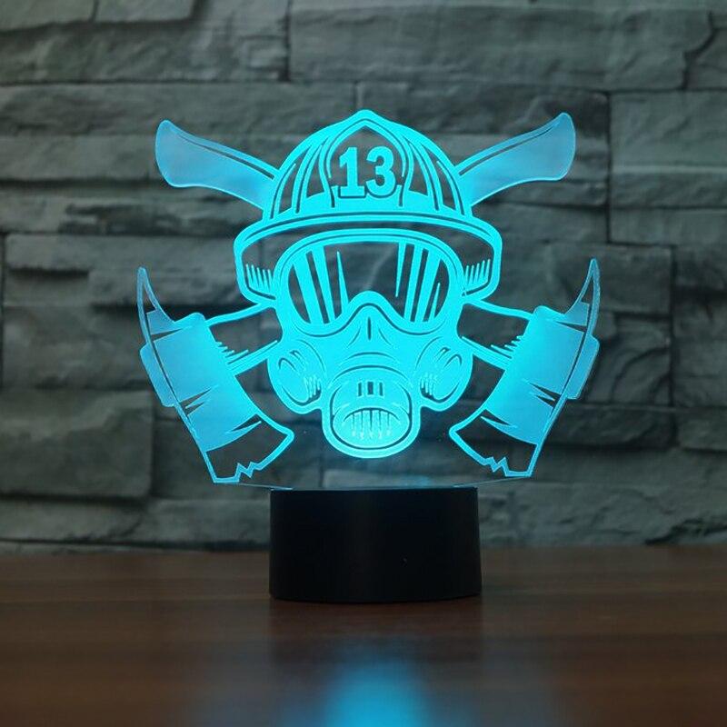 ثلاثية الأبعاد قناع اطفاء النمذجة الجدول مصباح LED 7 ألوان تغيير ضوء الليل الجدة النوم الإضاءة ديكور المنزل USB هدايا لوميناريا
