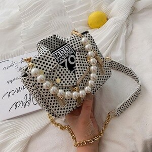 Hot Portable hand bags women 2020 Designer Dot Print Small bag female new fashion pearl shoulder bag luxury chain crossbody bag