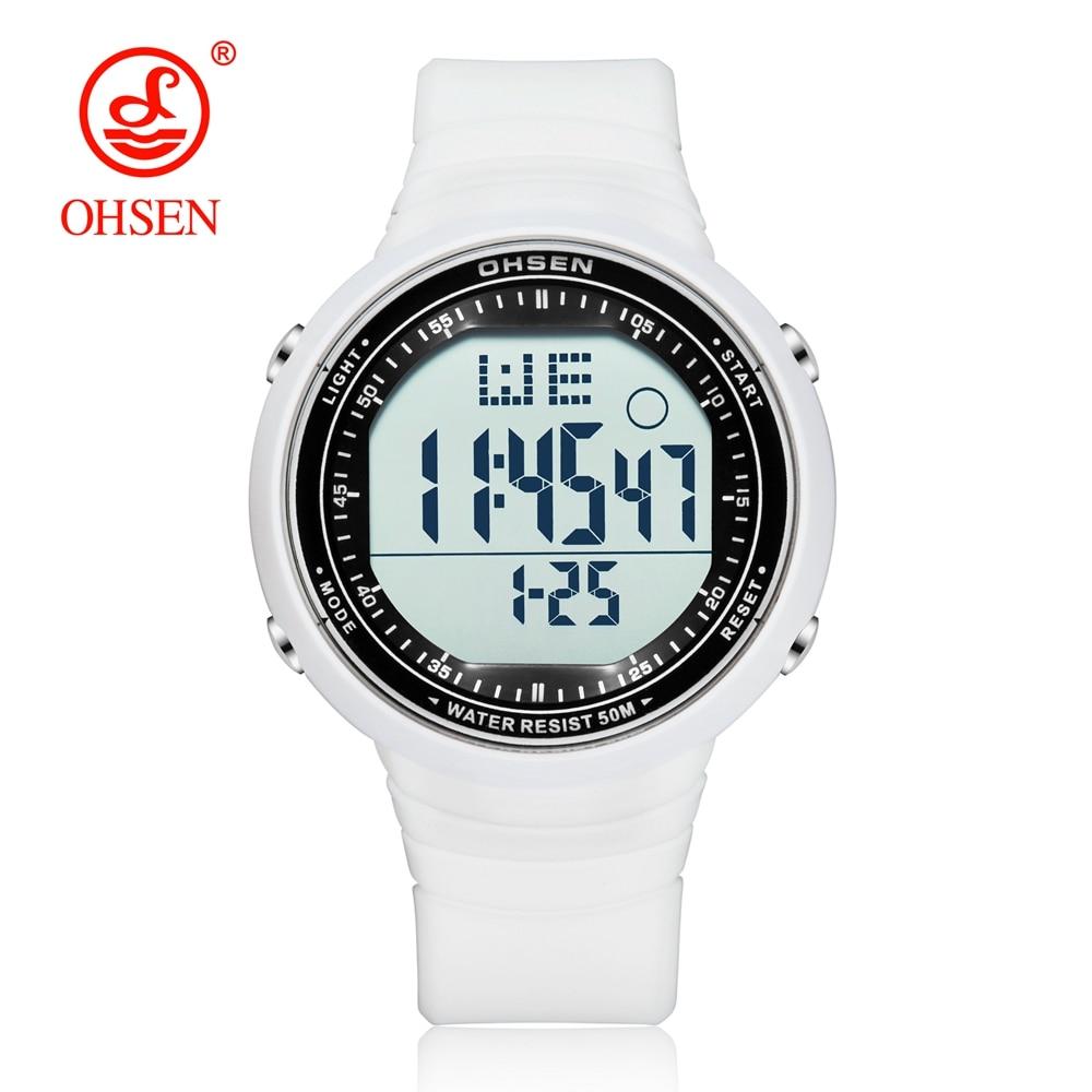 Digital de moda deporte reloj hombres reloj cronómetro Unisex caucho blanco 50M LED resistente al agua reloj hombre relojes reloj masculino