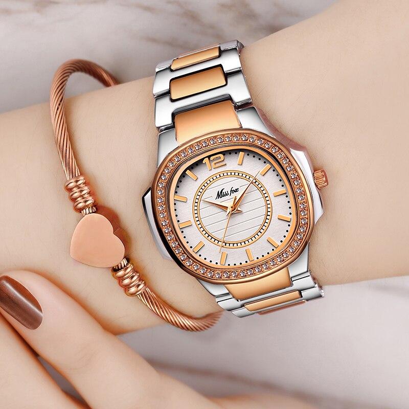 MISSFOX Women's Fashion Watch Three Hand Quartz Movt Nano Vaccum Rose Gold Plated Ladies Wrist Watch Waterproof Female Watches enlarge