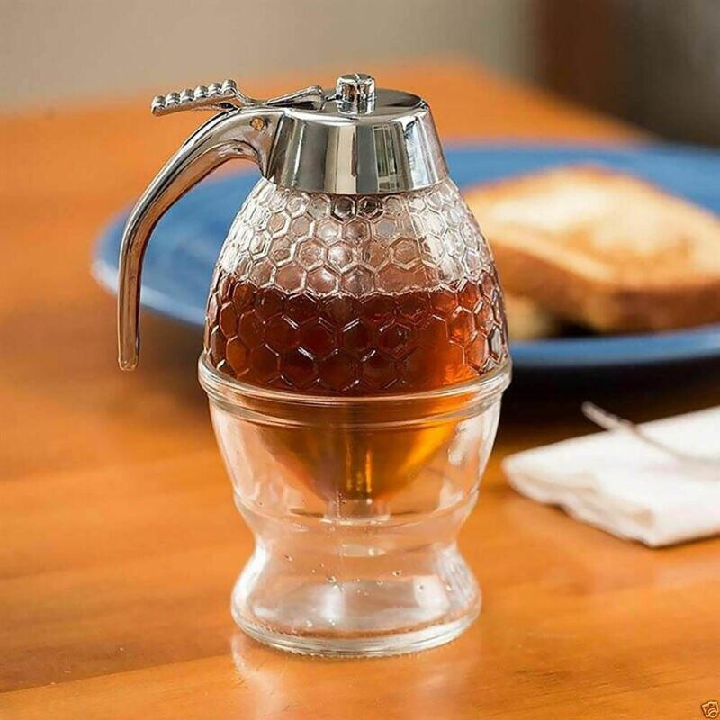 Dispensador de jugo de miel de 200ML práctico recipiente acrílico tarro 1 taza colmena de abeja acrílica con gatillo taza accesorios de cocina