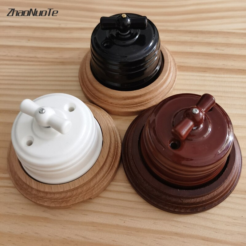 Retro Switch Socket Wooden Base EU Socket 1-3 Gang Wooden Base Brown Primary Wood Color Switch Accessories  Hole Diameter 72mm 86 type 1 2 3 4 gang 1 2way coffee aluminum alloy panel switch socket five hole europe industry switch france germany uk socket