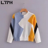 ltph round neck patchwork pullovers women sweaters soft warm long sleeve top multicolor knitted jumpers 2021 autumn new
