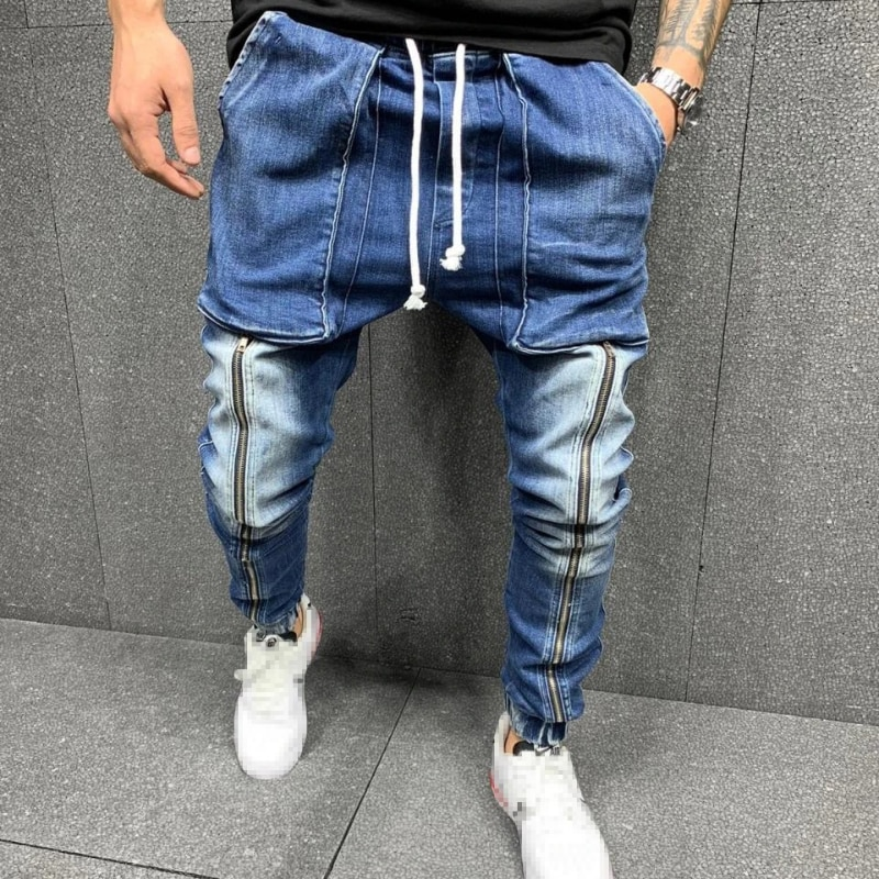 Мужские серые узкие джинсы, модные облегающие джинсы со шнуровкой, джинсы в стиле хип-хоп со средней талией, мужские повседневные спортивны...
