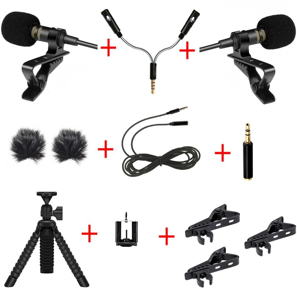 PC / Phone / Camera Mini USB Microphone Lapel Lavalier Mic External Cable Mic Splitter Adapter Furry Windscreen Accessories