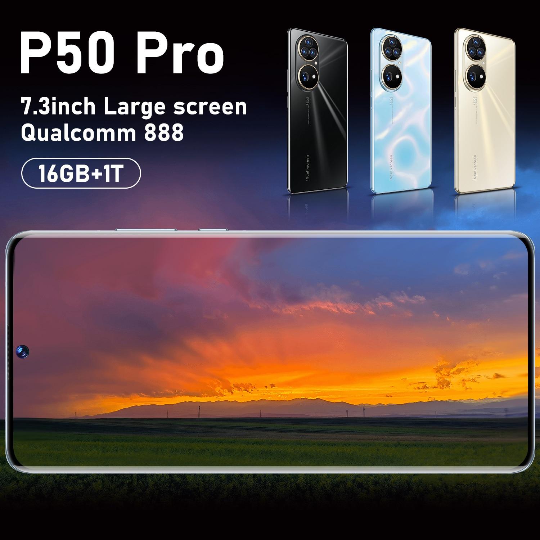 Смартфон P50 Pro, 5,5-дюймовый экран, 10 ядер, 7,3 мАч, 16 ГБ ОЗУ, 1 ТБ ПЗУ