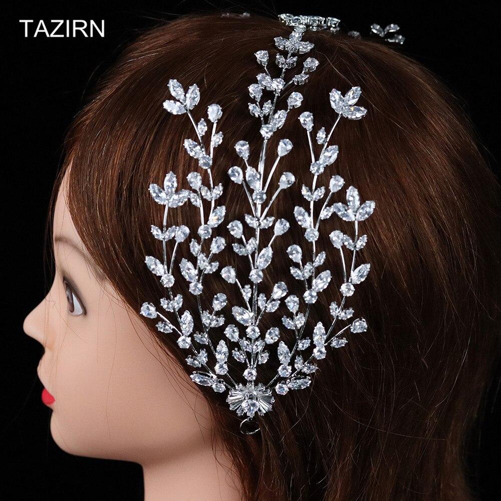 Sweet 2021 New Design Full Zircon Wedding Bridal Headbands Cubic Zirconia Party Prom Tiaras Hair Jewelry CZ Pageant Headpieces