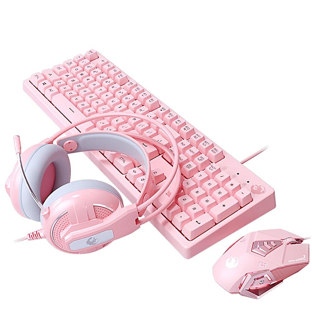 Проводная игровая клавиатура со светодиодной подсветкой, набор для игровой клавиатуры с милой розовой мышью и гарнитурой, подходит для геймеров, ПК, ноутбуков