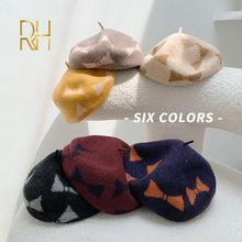 Classique rétro bérets de noël casquette en laine dames chapeaux mignon noël nœud papillon imprimé femme français peintre chapeau RH