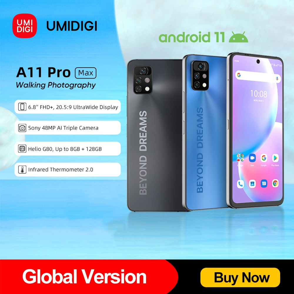 [World Premiere ] UMIDIGI A11 Pro Max Global Version 6.8''FHD+ Screen Smartphone 128GB Helio G80 48MP AI Triple Camera 5150mAh