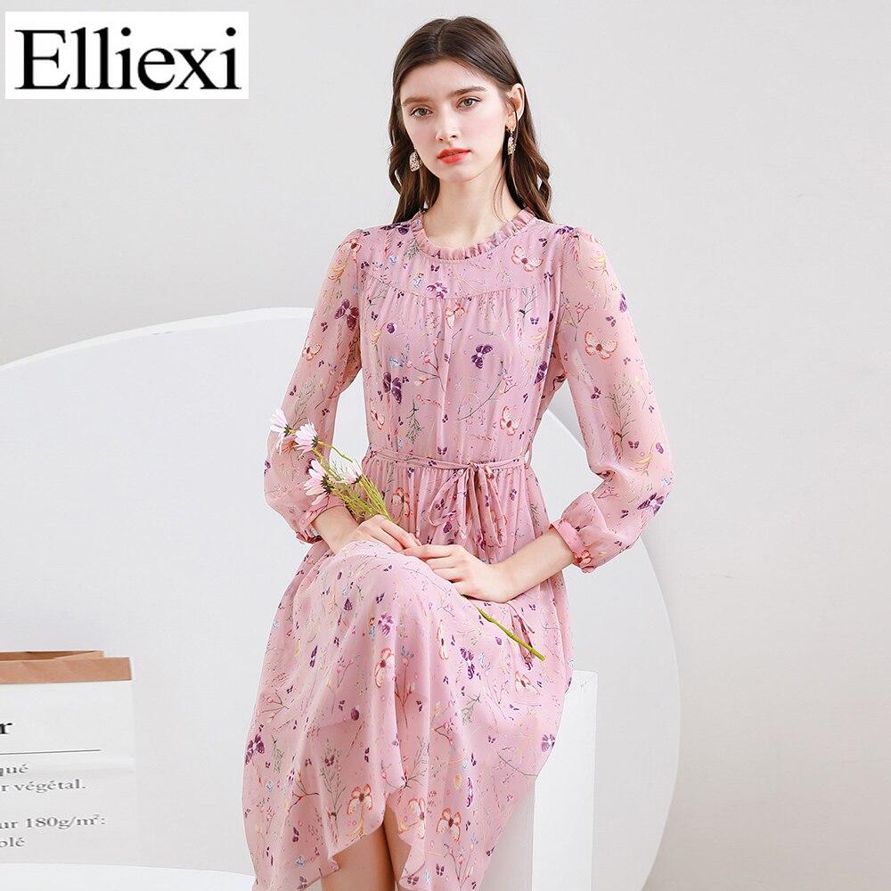إليكسي فستان الخريف المرأة الشيفون الأزهار طباعة فساتين الإناث ميدي س الرقبة Sashe شفافة نصف كم فستان كاجوال الإناث