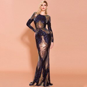 Long Sleeves Evening Dresses Mermaid Backless  Sexy Women Sequins Hot Fashion Formal Evening Gown Prom Dress ESAN362
