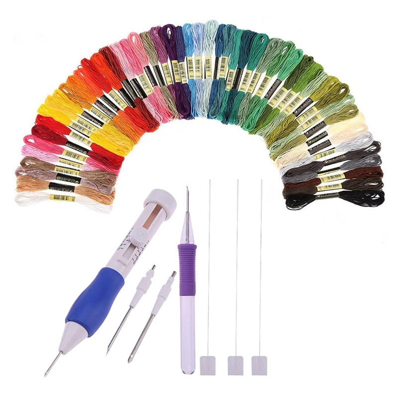 50 colors embroidery thread 3 Needles 2 Threaders Craft Tool Punch Needle Set  Embroidery Stitching Craft Tool for DIY Sewing