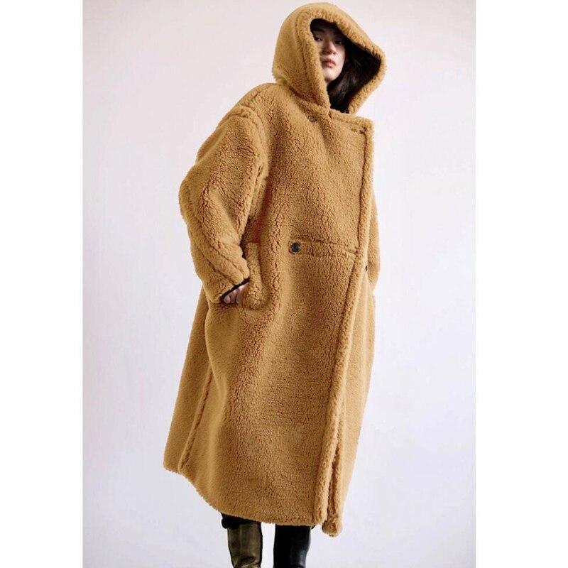 Тедди мишка пальто зимняя одежда для женщин 2021 черное шерстяное пальто с поясом Женская теплая куртка оверсайз меховые пальто