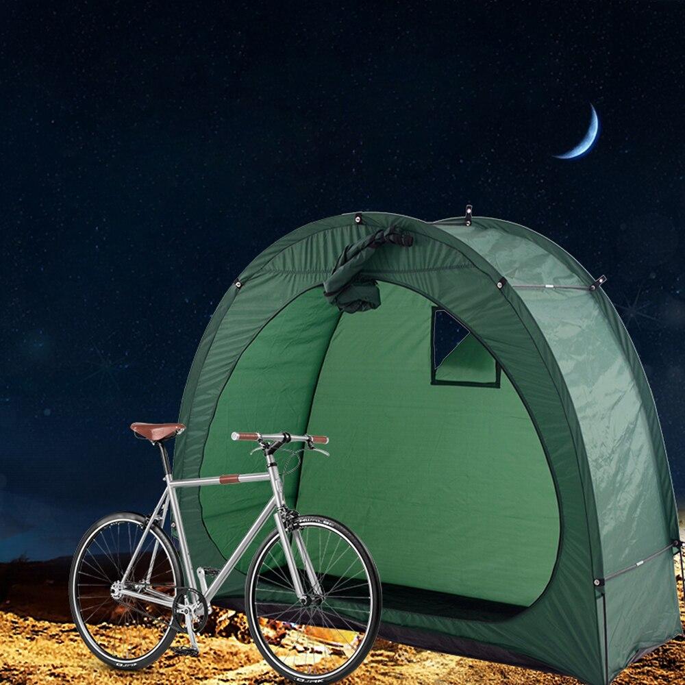 Camping al aire libre bicicleta tienda bicicleta cobertizo de almacenamiento 190T bicicleta para almacenaje cobertizo con diseño de ventana para al aire libre Camping