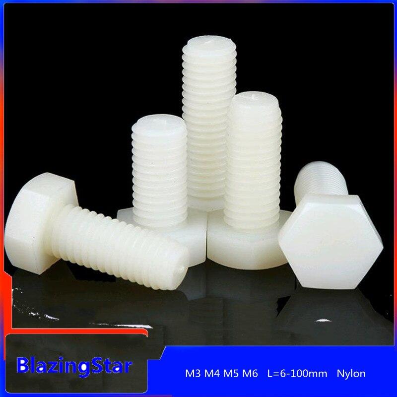 10/20/50 шт. M3 M4 M5 M6 M12 пластиковый шестигранный винт, нейлоновый шестигранный болт, изолированный пластиковый шестигранный винт L = 6-100 мм